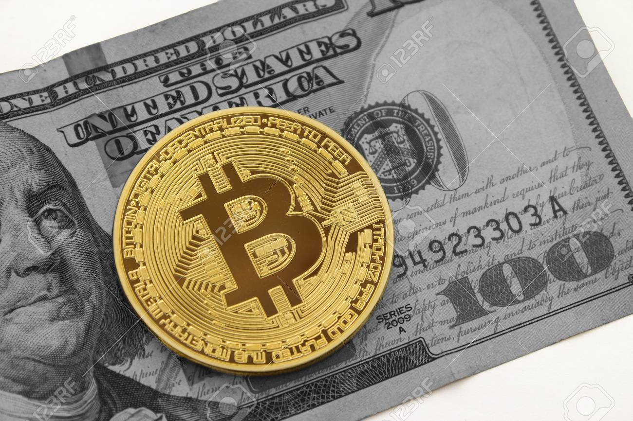 Golden Bitcoin On Black And White Hundred Dollar Bill With White 1300x866