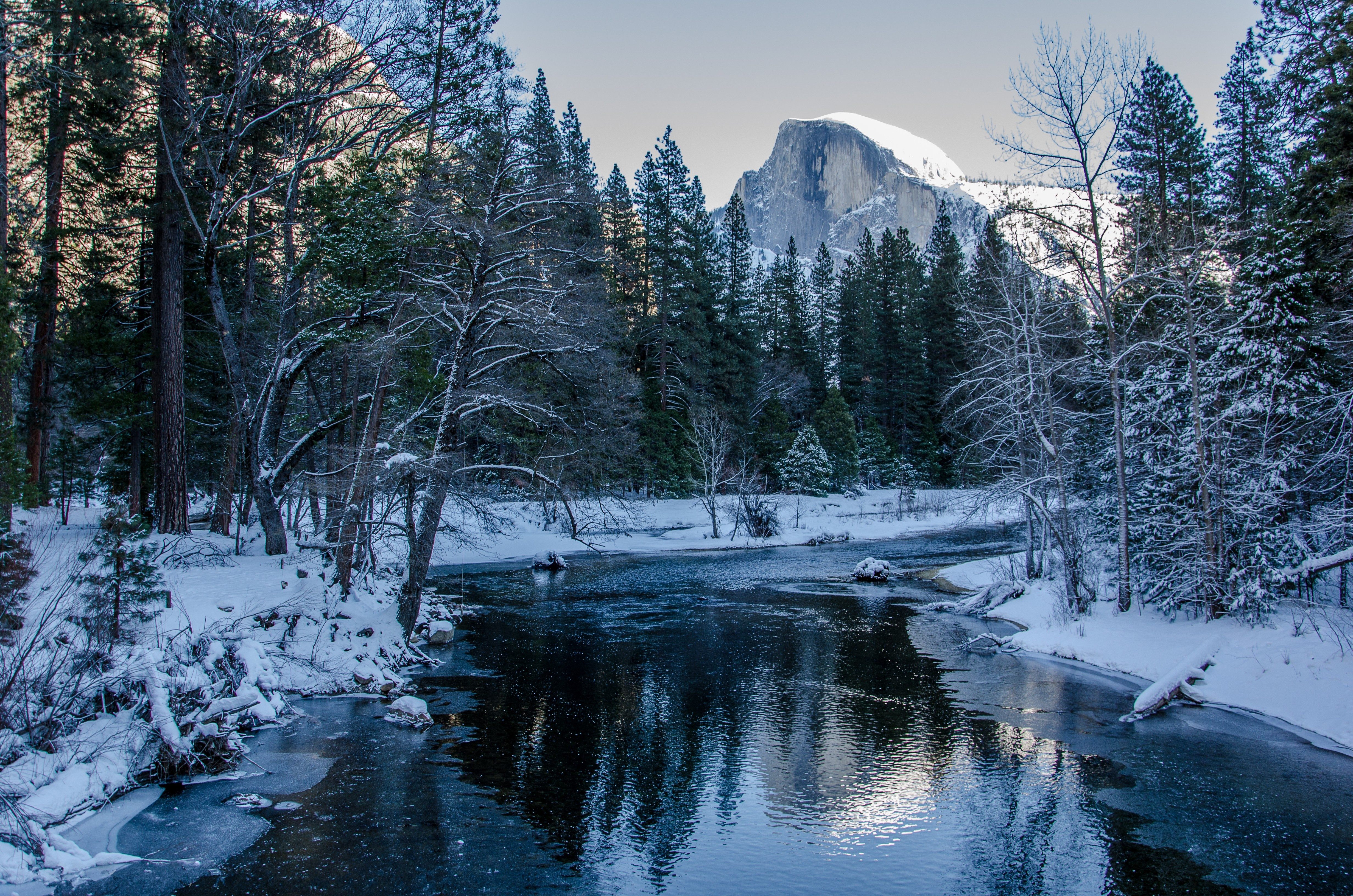 Yosemite National Park winter river trees mountains landscape 4928x3264