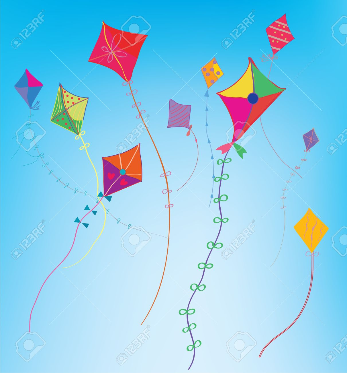 Kites In The Sky Funny Background Royalty Cliparts Vectors 1211x1300
