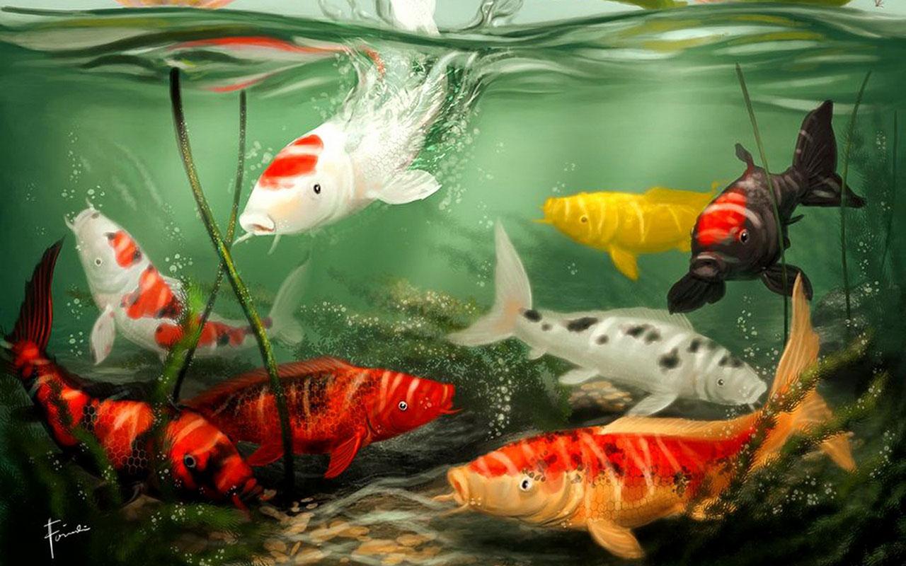 Золотые рыбки на поверхности  № 2075930 загрузить