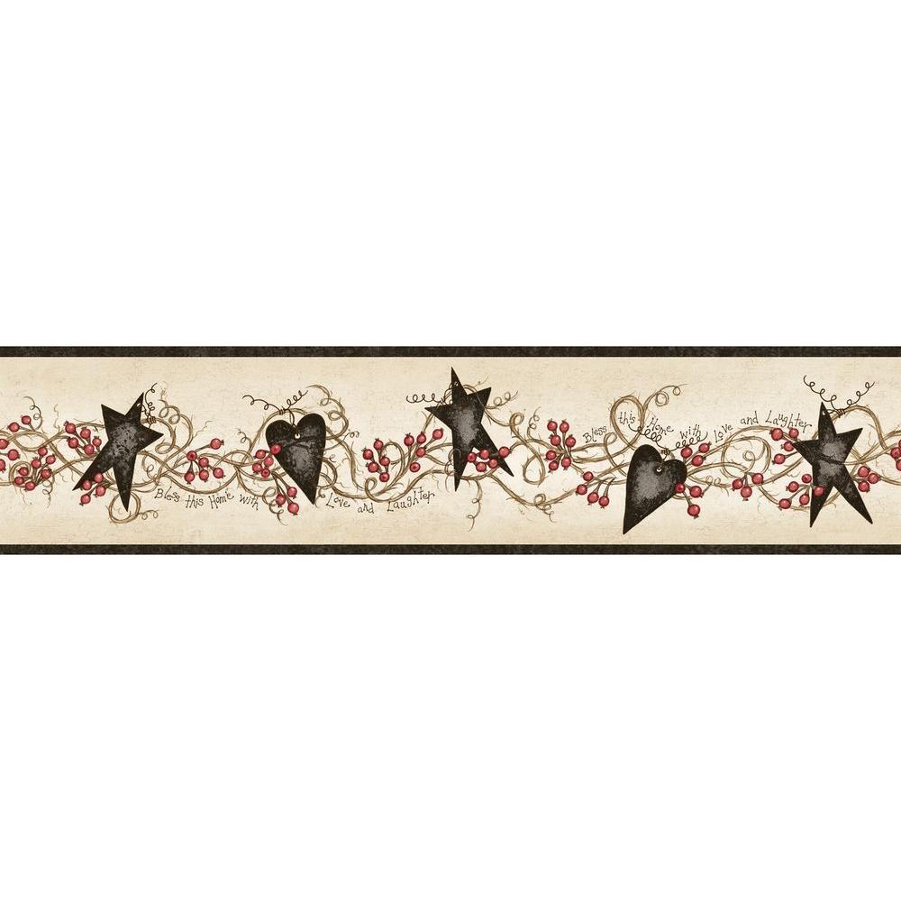 Chesapeake Paxton Black Tin Hearts and Stars Wallpaper Border 1000x1000