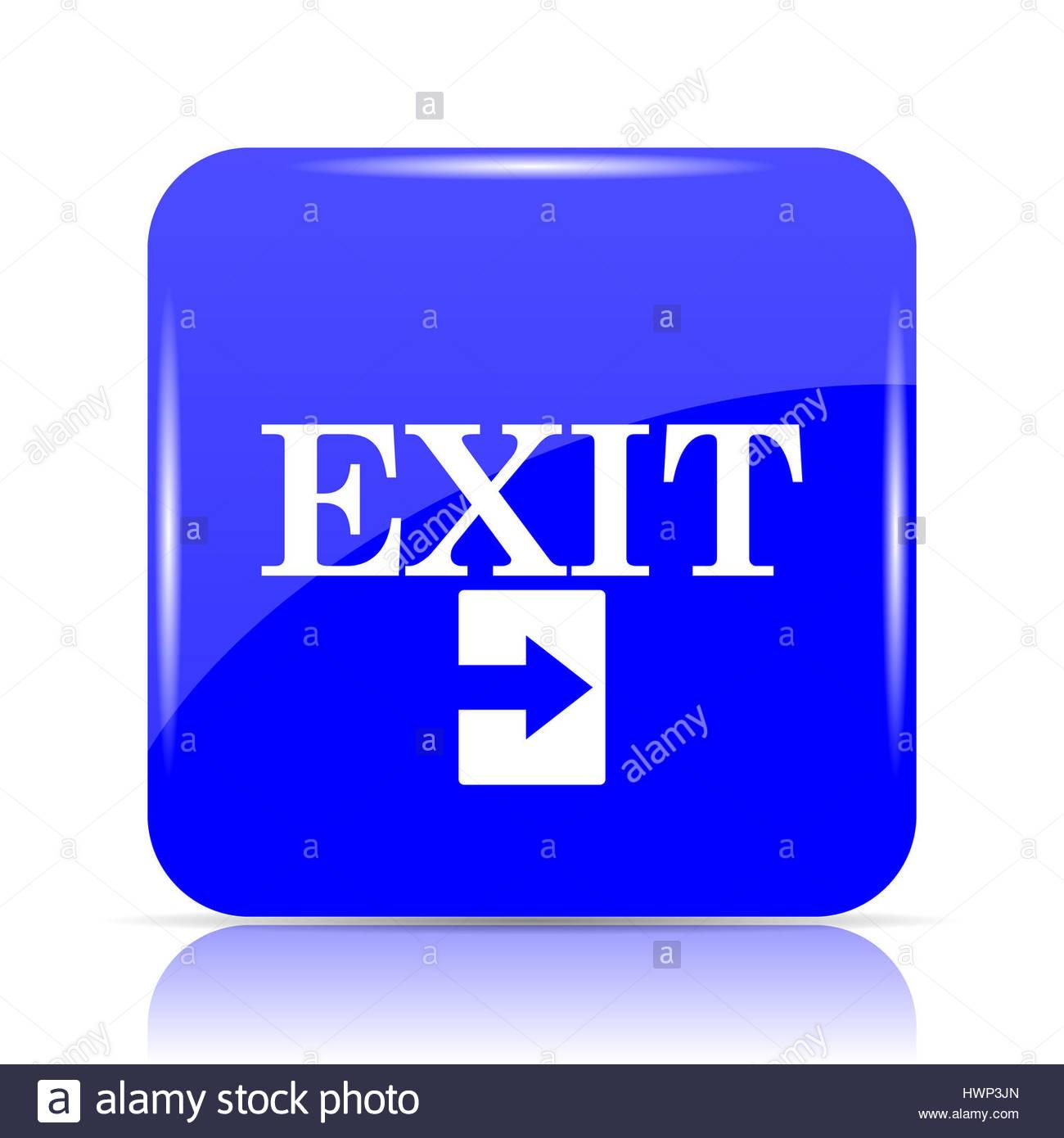 Exit icon blue website button on white background Stock Photo 1300x1390