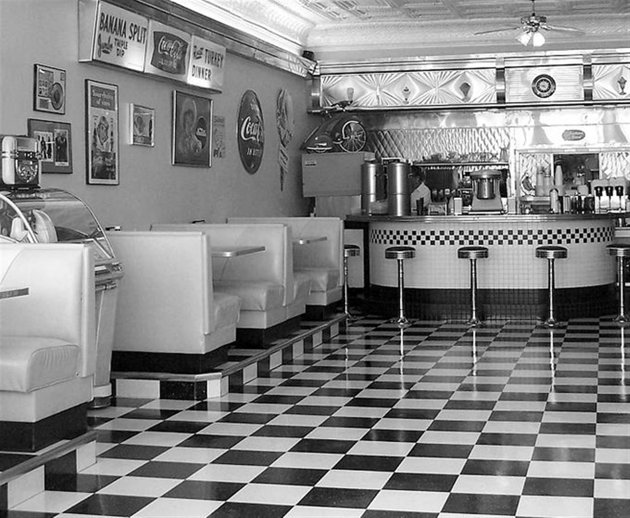 American diner wallpaper wallpapersafari for 50s diner style kitchen