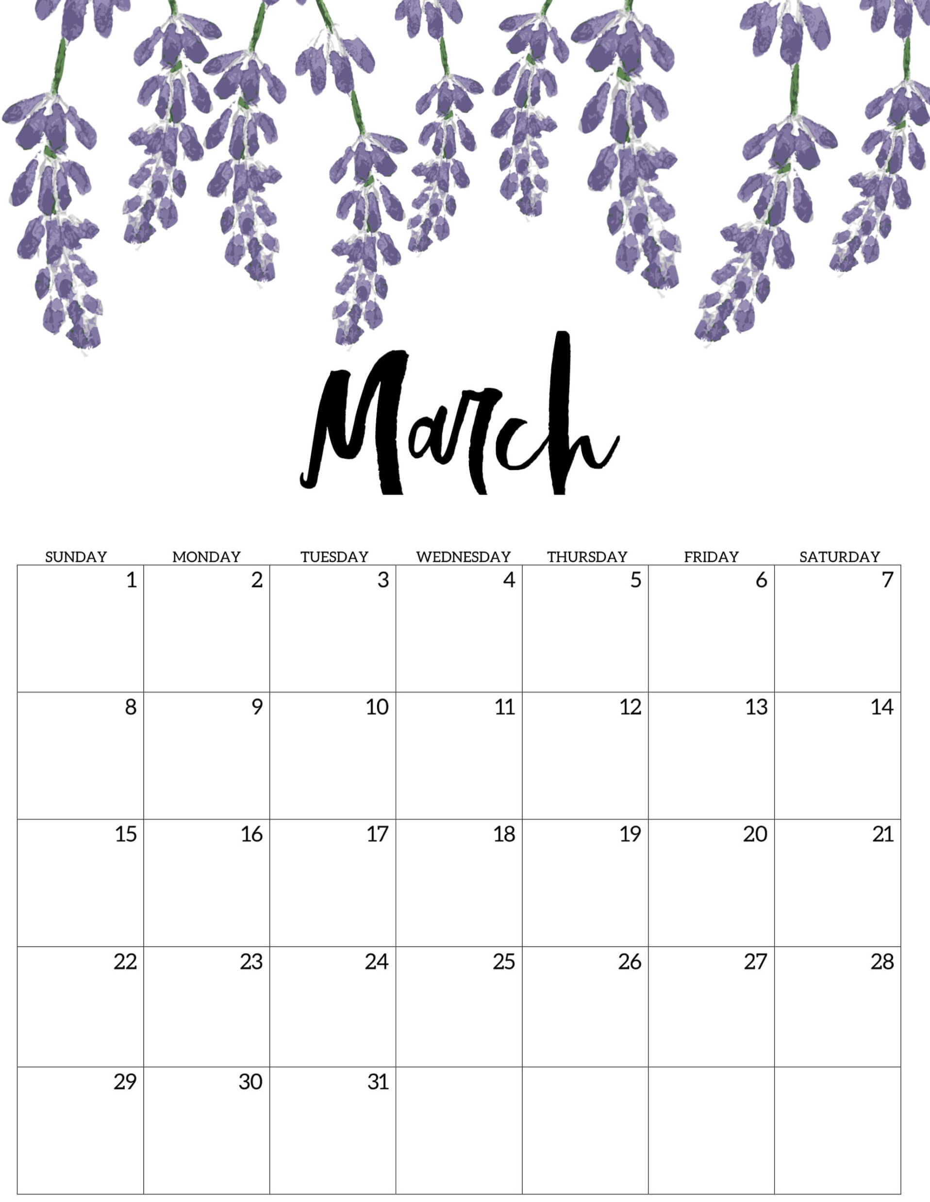 Printable Cute March 2020 Calendar Template Images   Set Your Plan 1916x2476