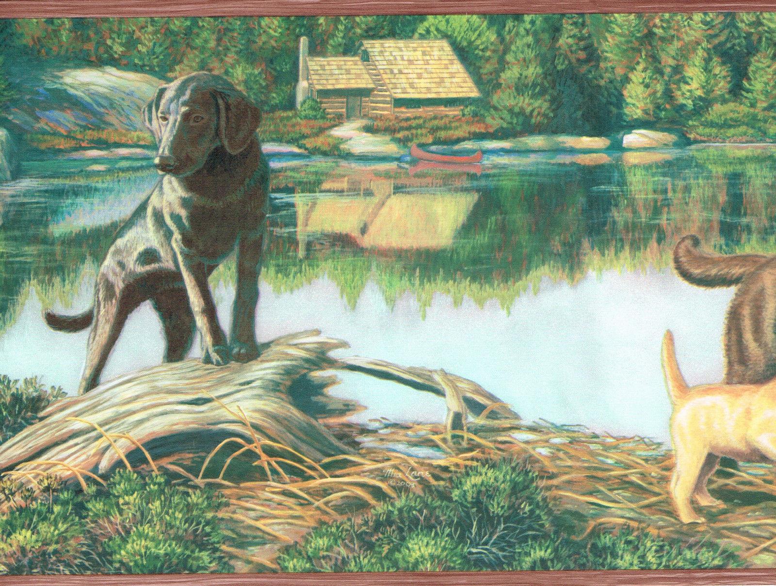 DOG PUPPY STOCKING TURTLE CABIN ON LAKE Wallpaper bordeR Wall 1600x1208