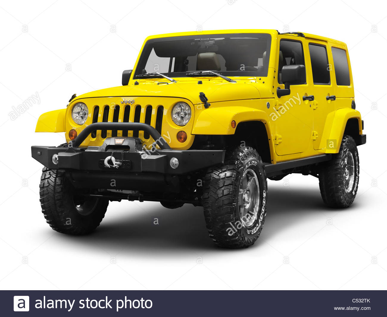 Yellow 2011 Jeep Wrangler Unlimited Sahara 4x4 SUV isolated on 1300x1065