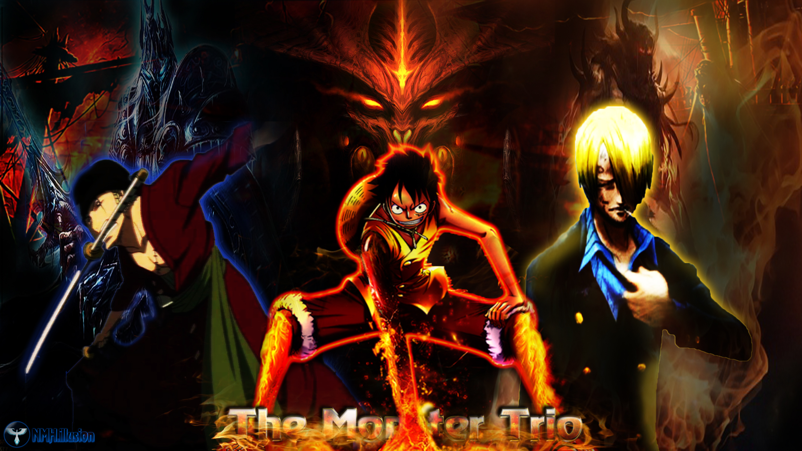One Piece Straw Hat Luffy Zoro Sanji The Monster by nmh illusion on 2560x1440