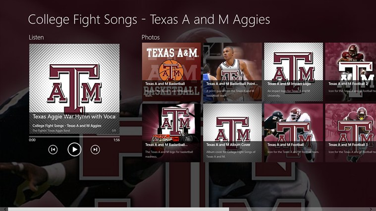 College Fight Songs   Texas AM Aggies Album App app for Windows in 759x427