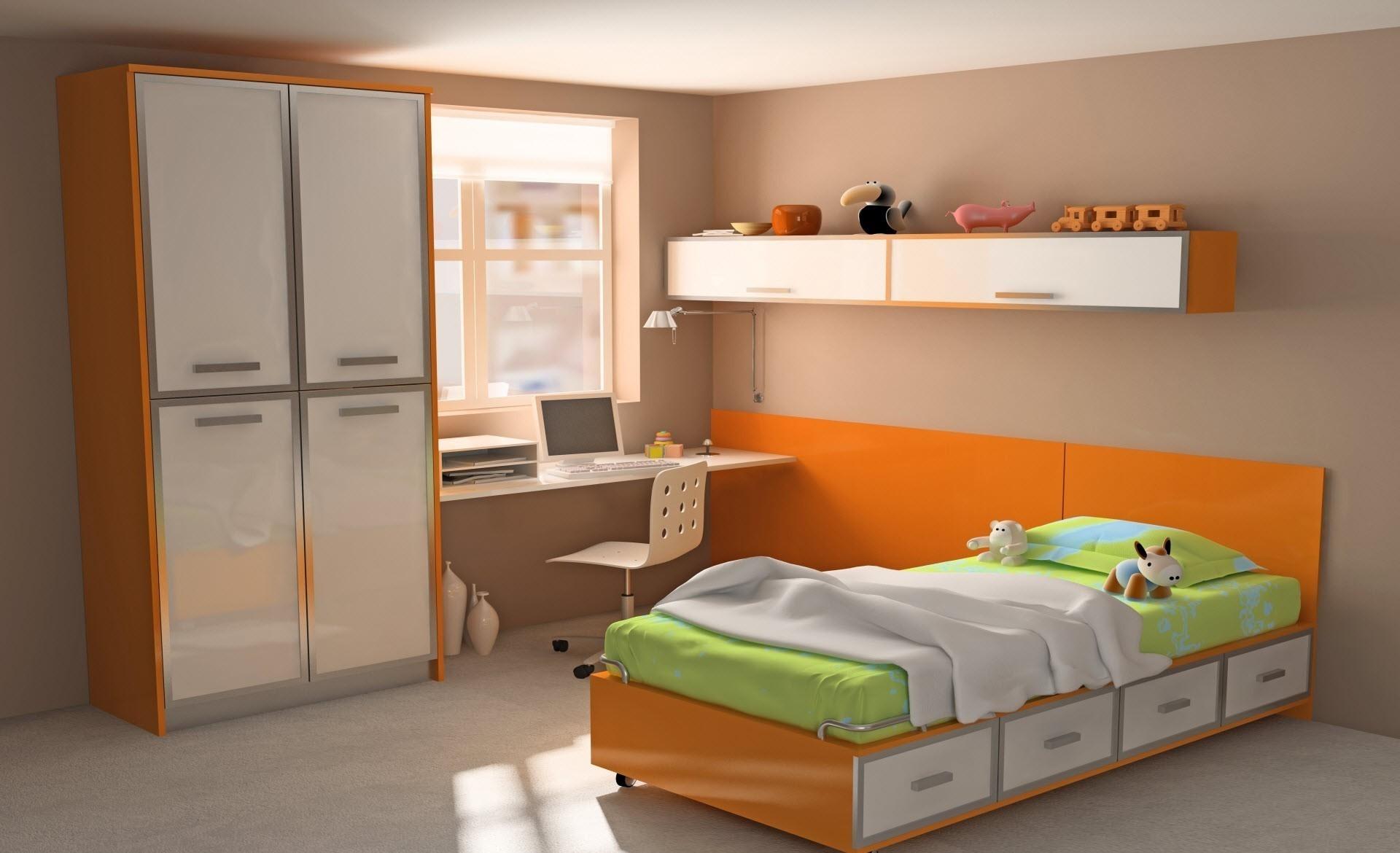 Design Toys Interiors Apartment Room Computer Colorful Bed Orange 1920x1170