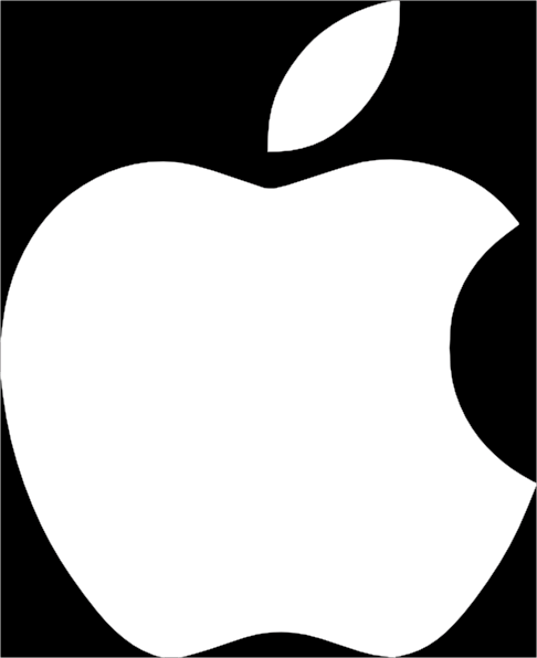 White Apple Logo On Black Background Clip Art at Clkercom   vector 486x596