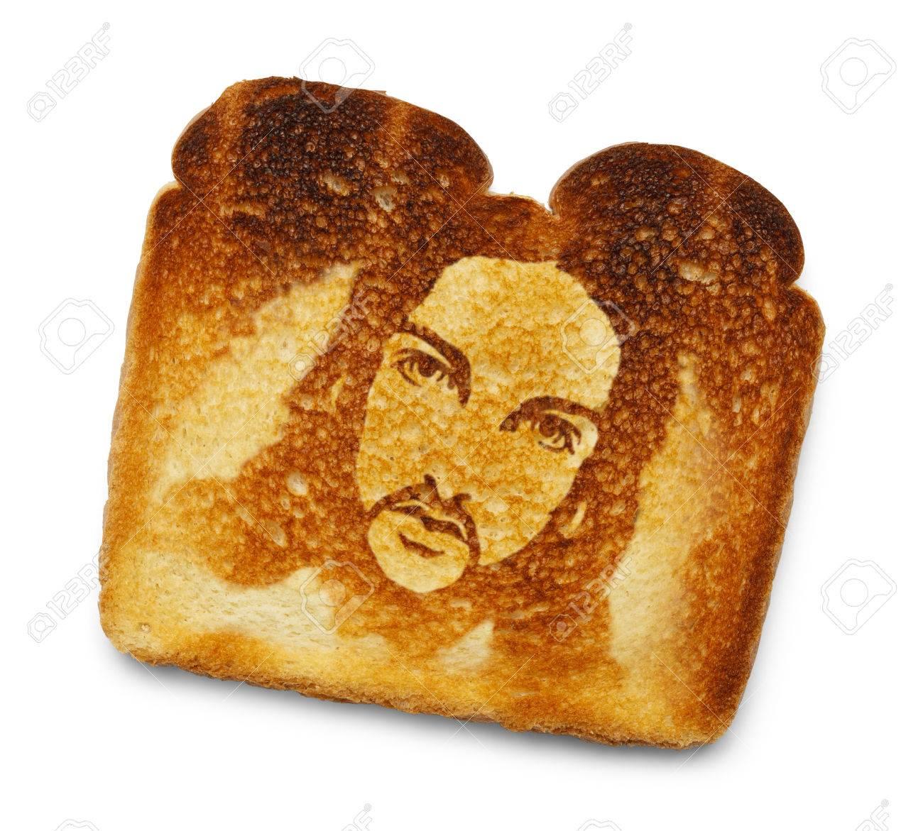 Burnt Toast With Image Of Jesus Isolated On White Background 1300x1171