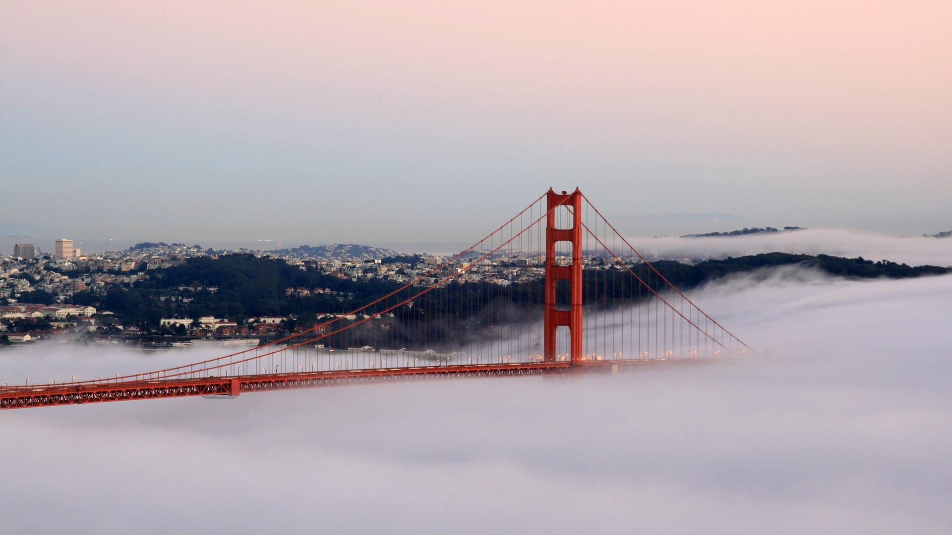 Download Wallpaper 1920x1080 san francisco bridge fog buildings 1920x1080