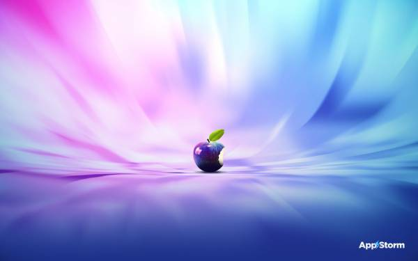Widescreen Wallpaper Apple Brand mac PC logo blue pink blue HD 600x375