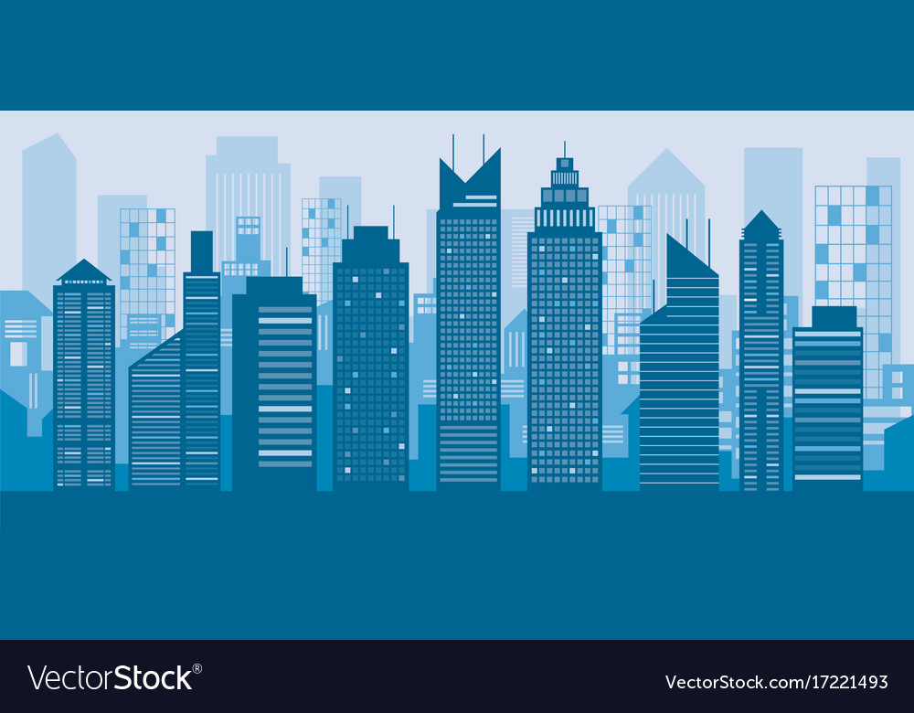 Buildings and skyscrapers blue background Vector Image 1000x780