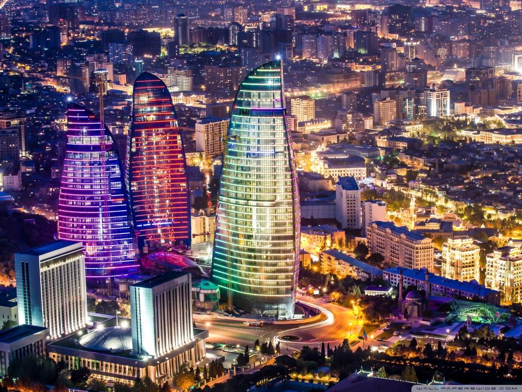 Flame Towers Baku Azerbaijan 4K HD Desktop Wallpaper for 1024x768