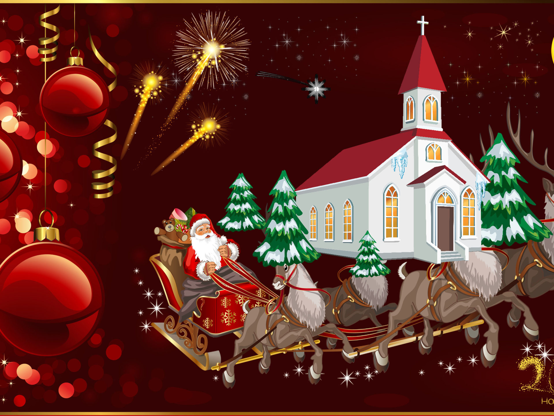 Happy New Year 2020 Merry Christmas Christmas Greeting Card Santa 1920x1440