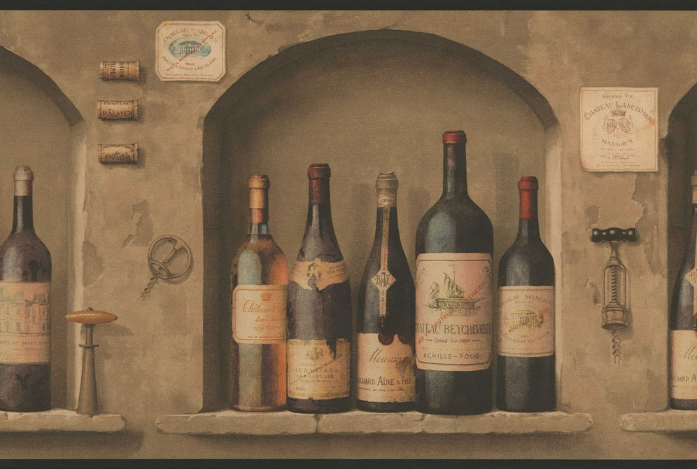 Wine Bottles Wallpaper Border NV9652B Wine Kitchen Decor 996x670