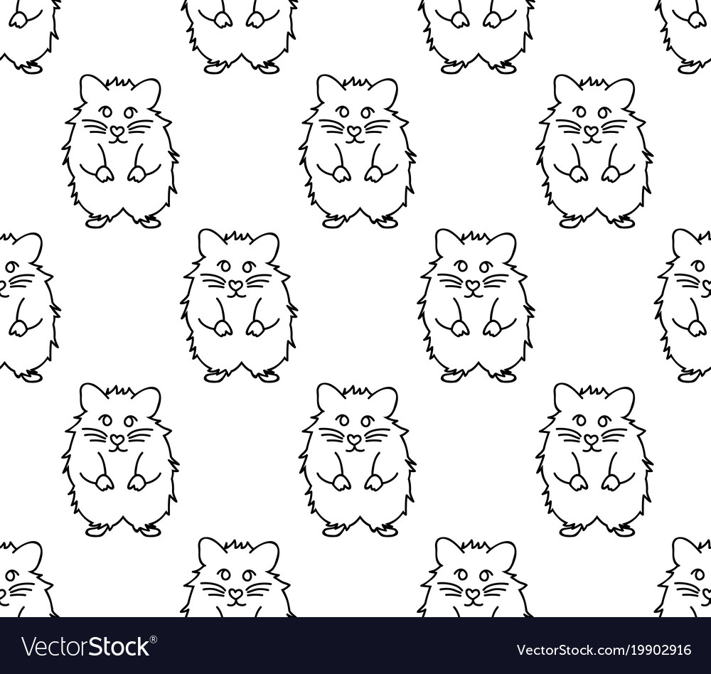 Cute hamster on white background Royalty Vector Image 1000x948