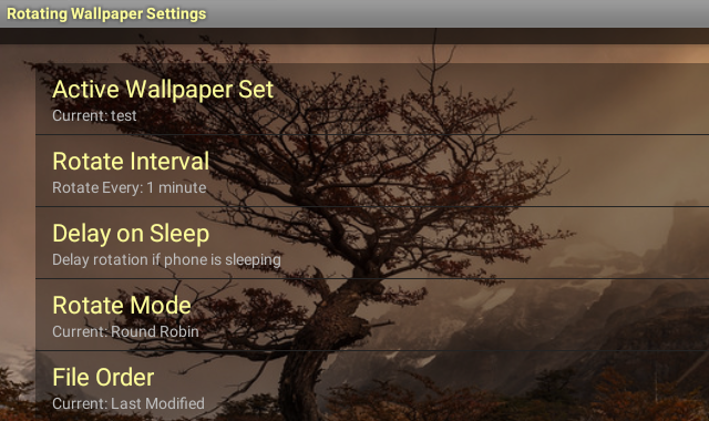 Rotating Wallpaper Settings 640x380