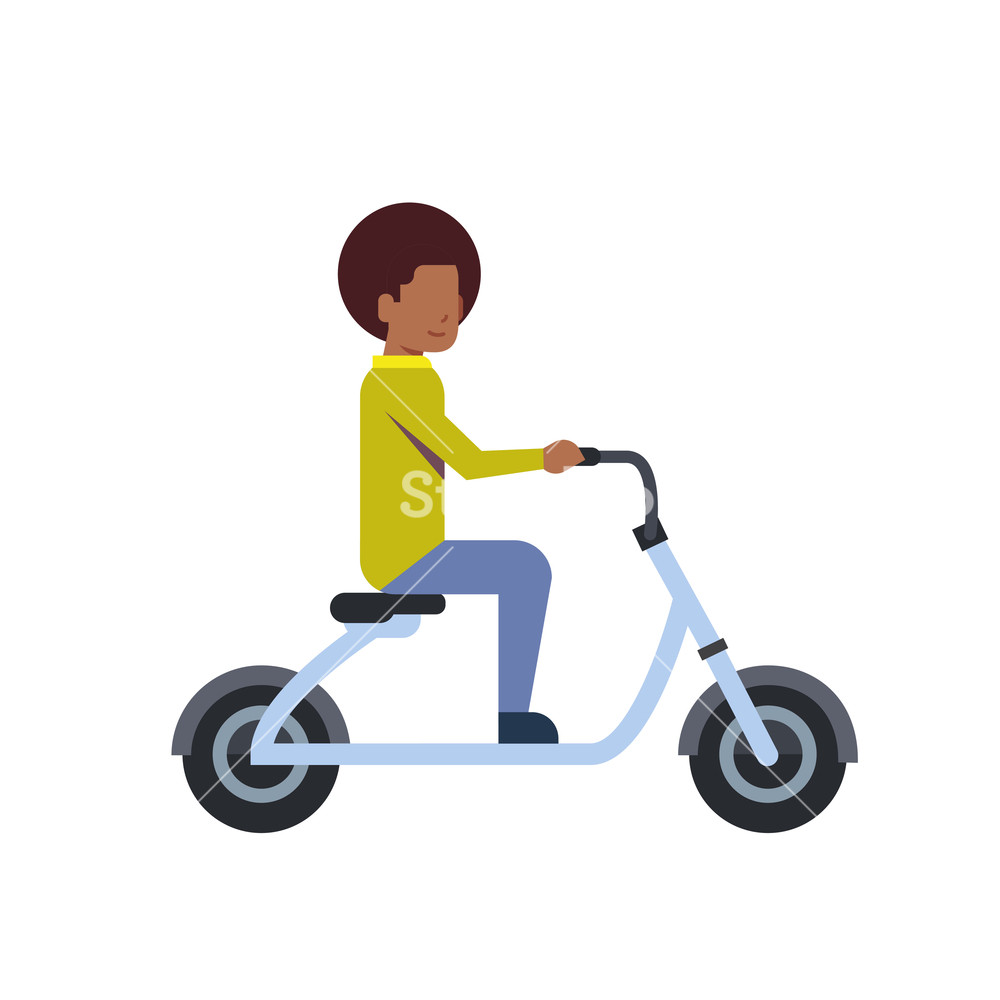 african boy riding electric scooter over white background 1000x1000