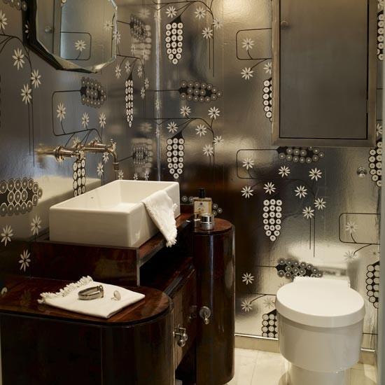 Glamorous metallic bathroom Unusual bathrooms housetohomecouk 550x550