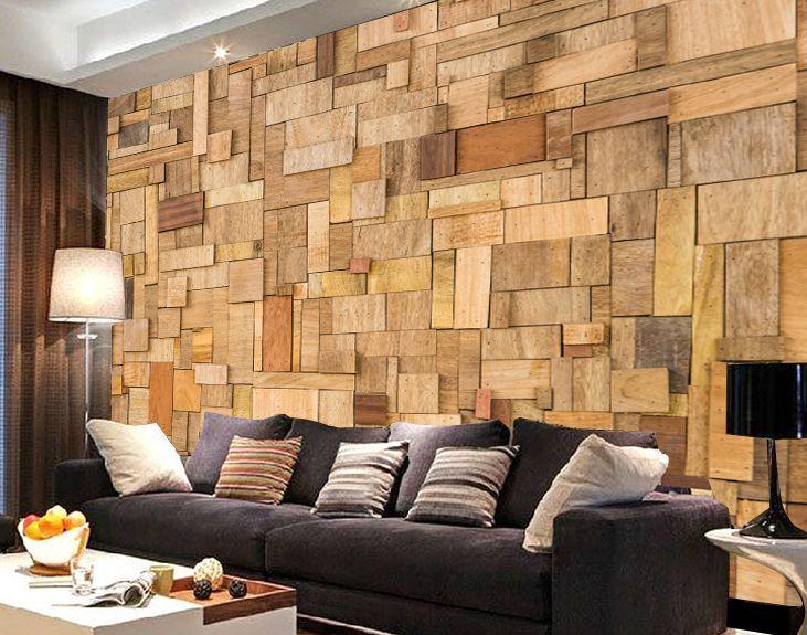 3D Stacking wood Mosaic Wall Murals Wallpaper Decal Decor Home Kids 731x575