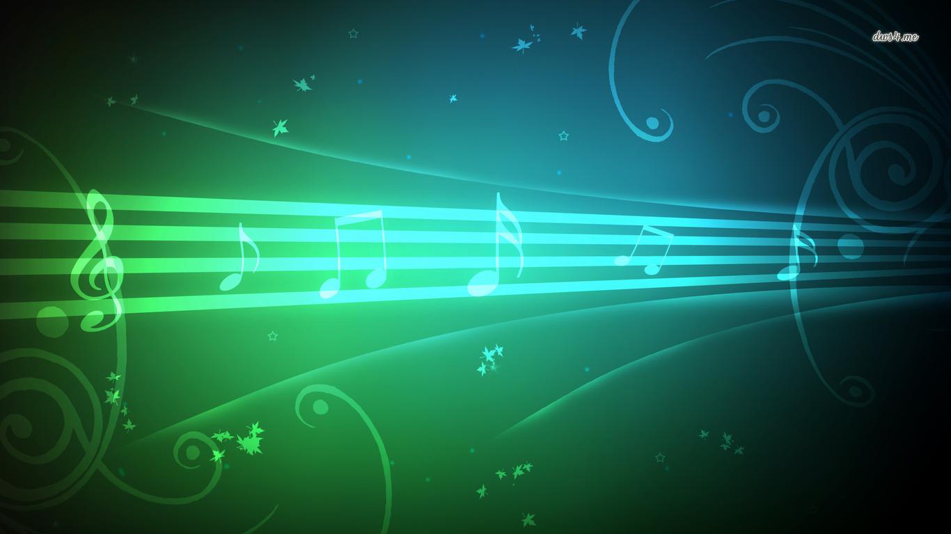 best green Musical notes wallpaper cute Wallpapers 1366x768
