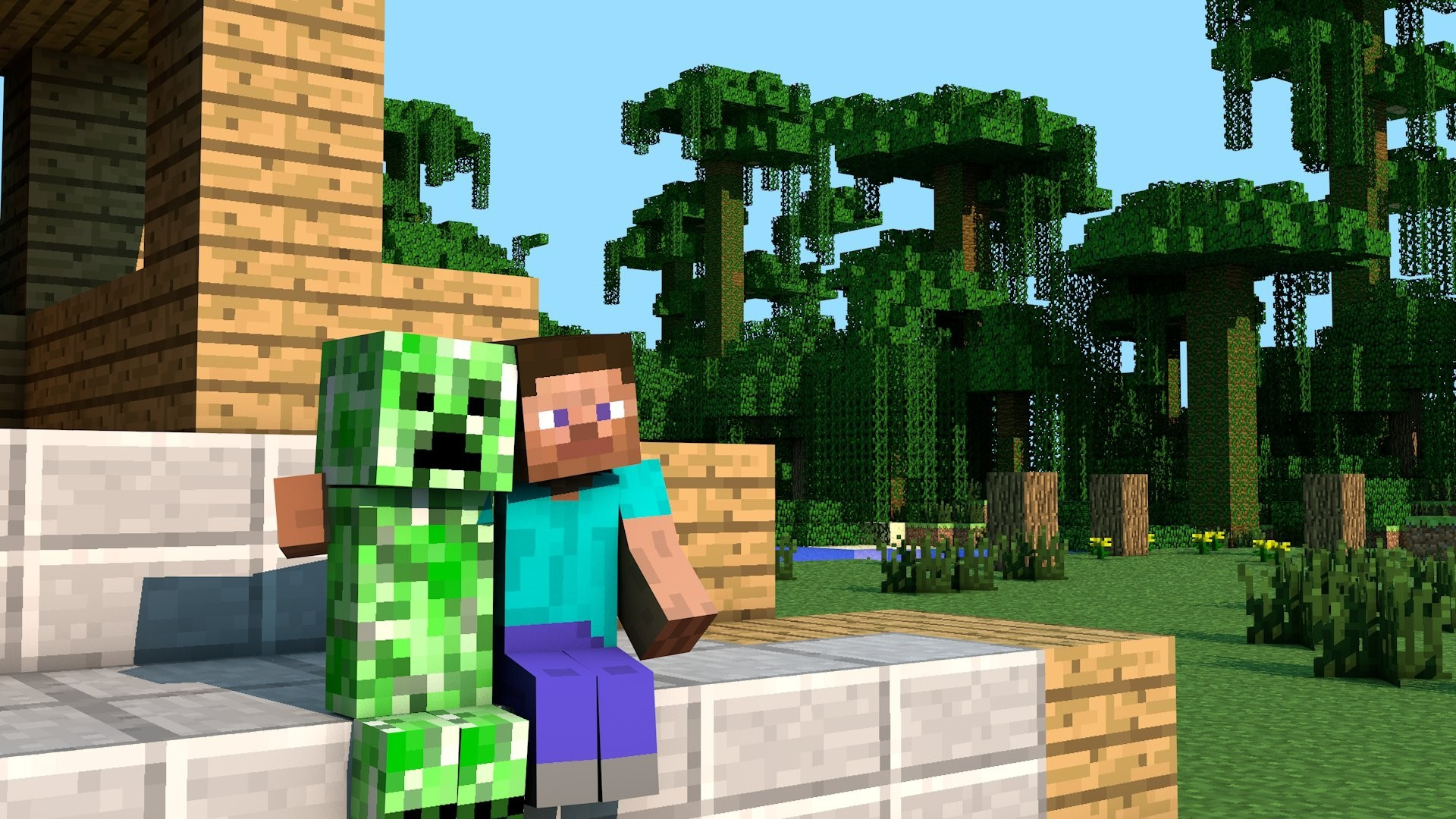 minecraft hd desktop backgrounds 1920x1080 creeper steve 1920x1080