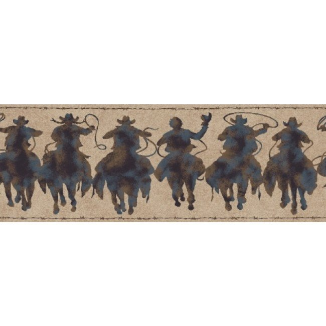 Home Western Rodeo Cowboy Patina Silhouettes Wallpaper Border 650x650