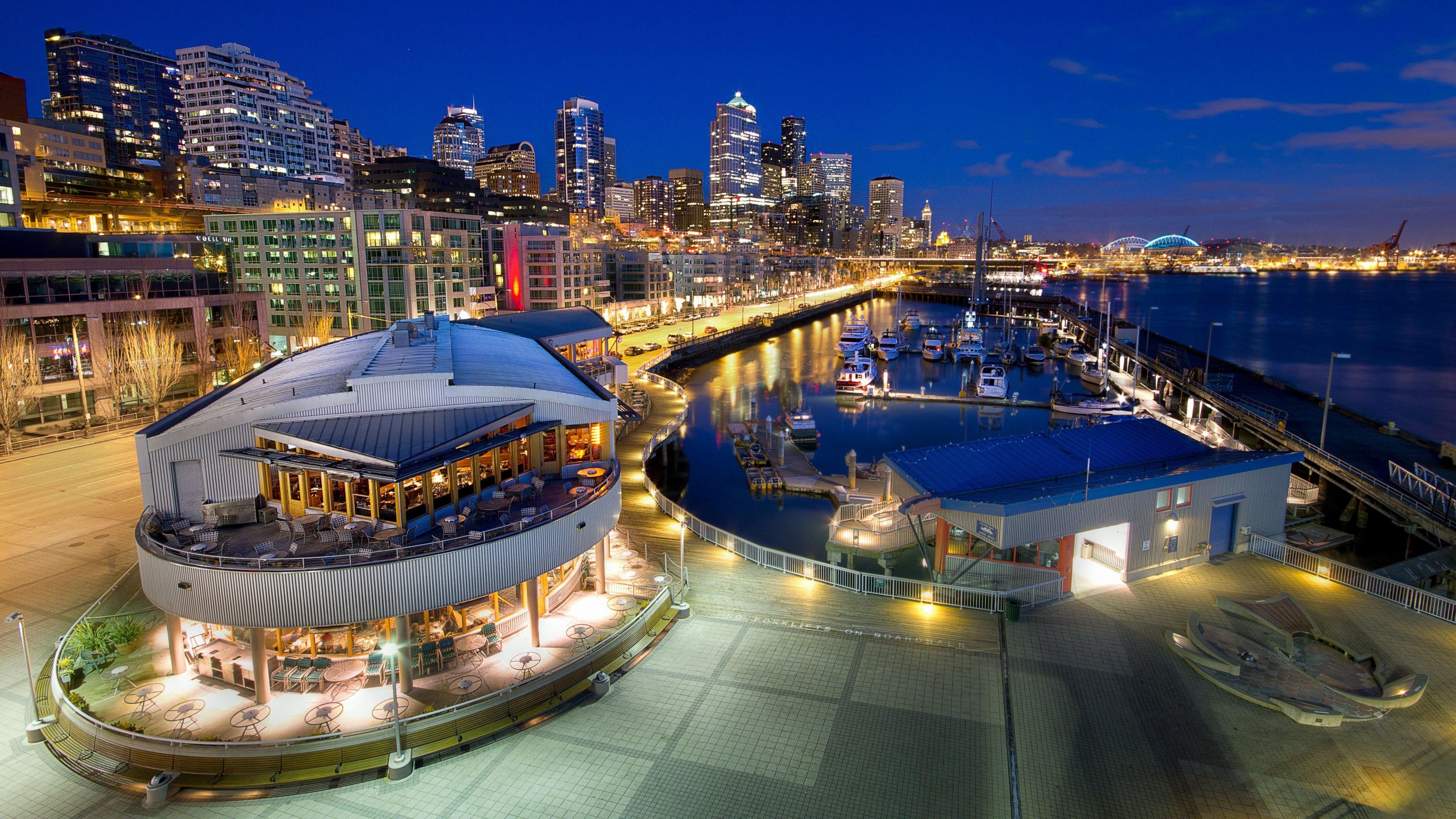 Ultra HD Wallpaper 38402160 seattle promenade pier night city 3840x2160