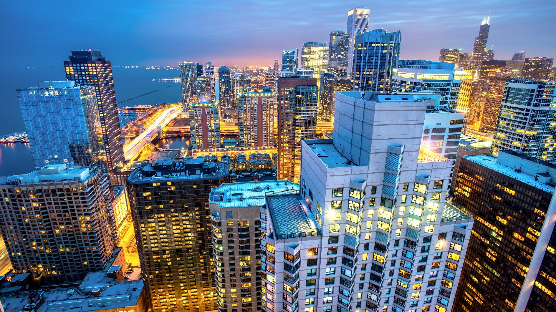 Ночной порт в Чикаго  № 3504422  скачать