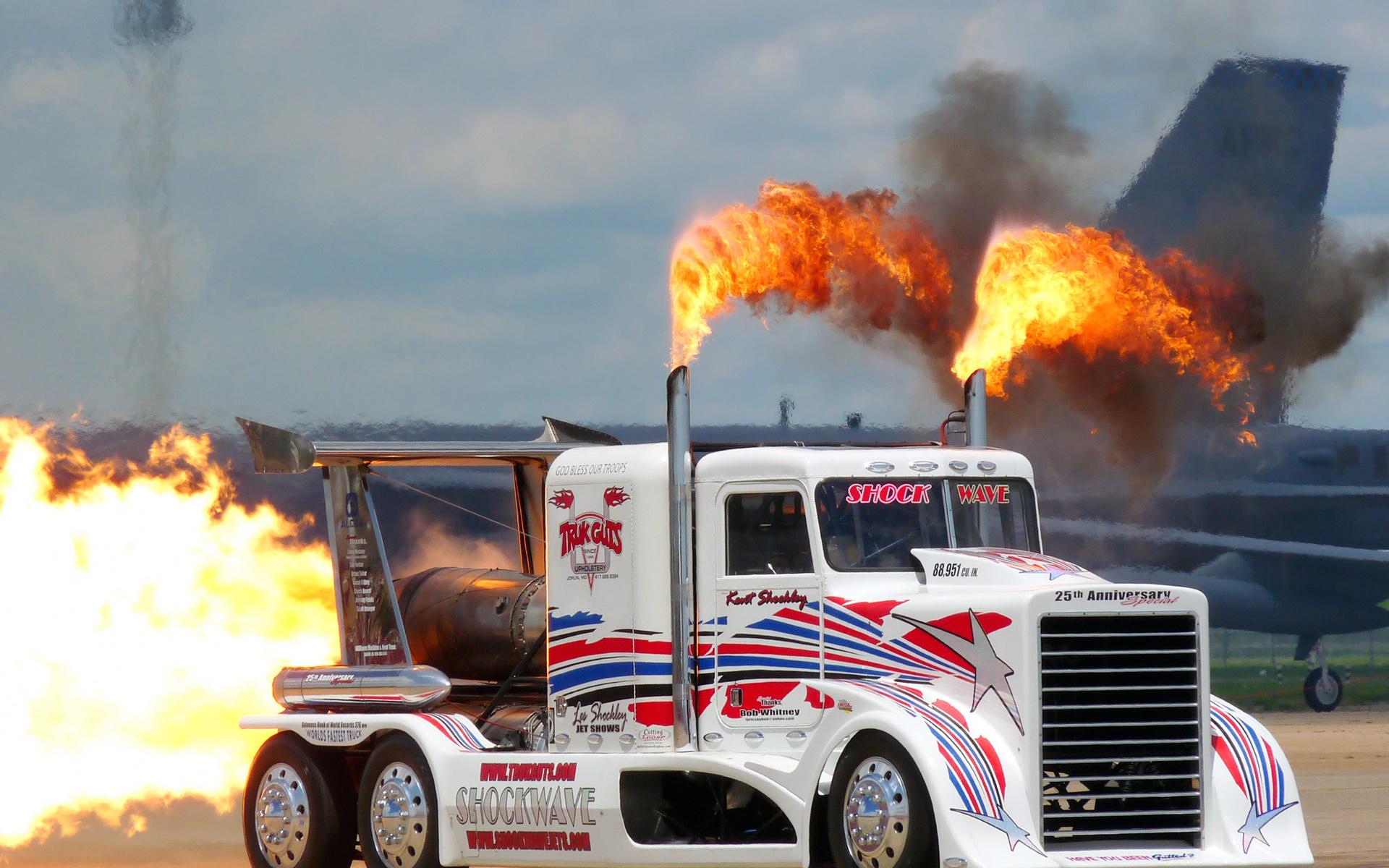 semi tractor big rig fire flames jets custom wallpaper background 1920x1200