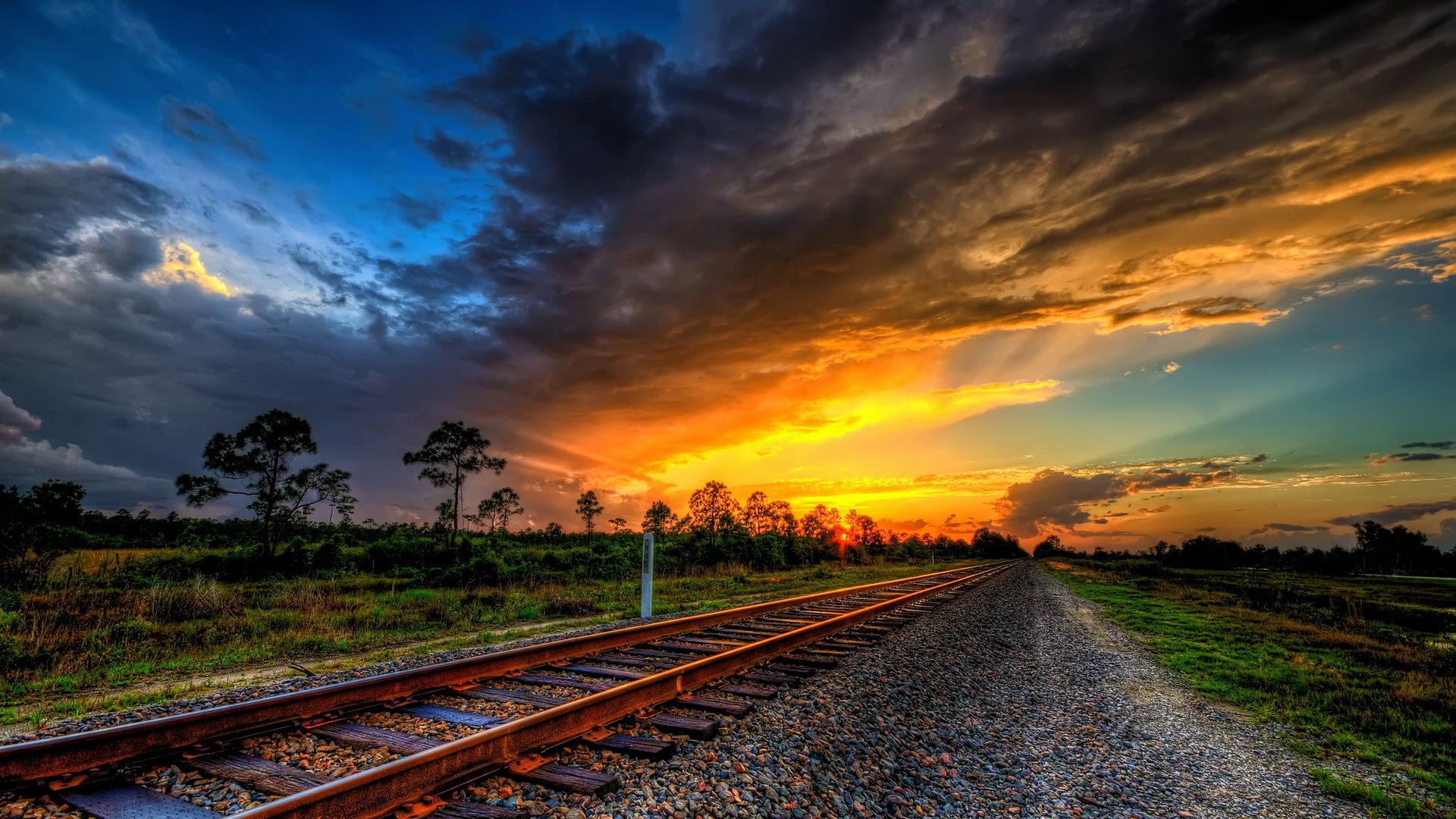 Wonderful Sunset On Train Tracks Hdr HD Desktop Background 1920x1080