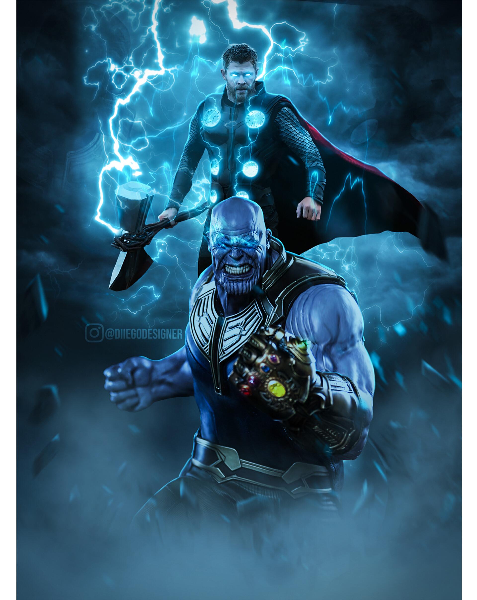 Thor and Thanos Avengers Endgame Artwok by Diiego Designer 4588 1920x2417