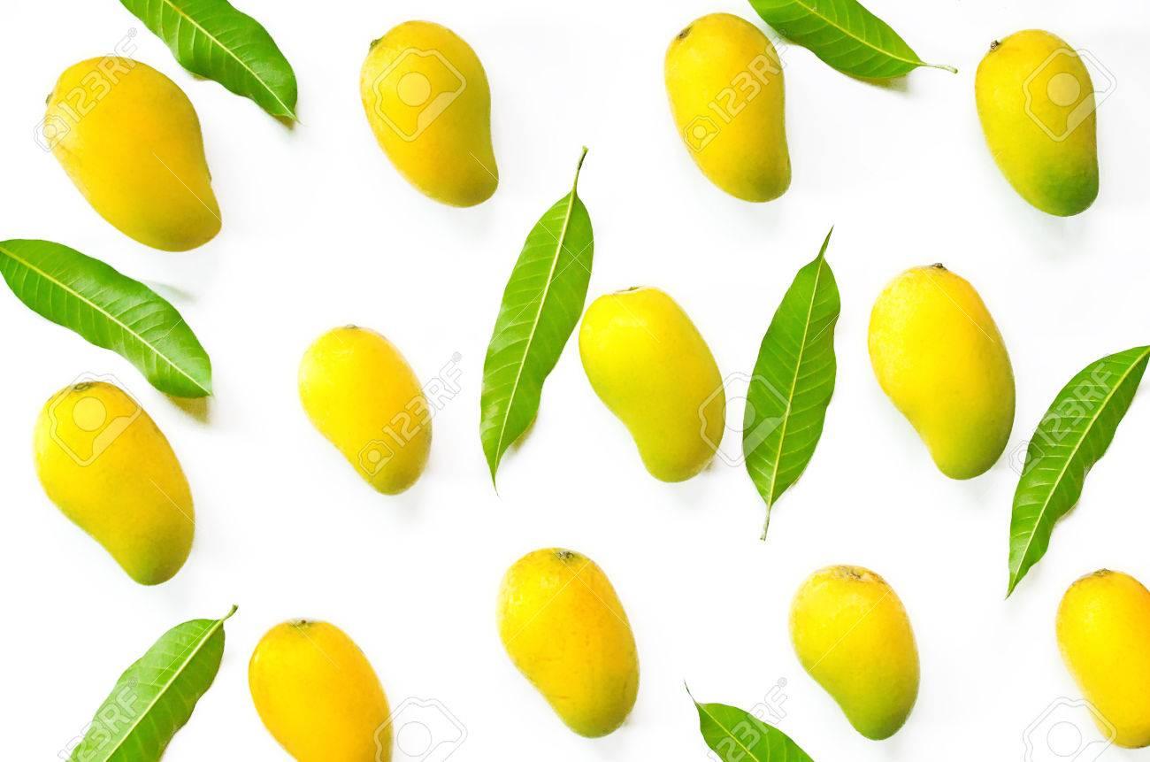 Mango Fruit And Mango Leaves For Isolated The Background On White 1300x861