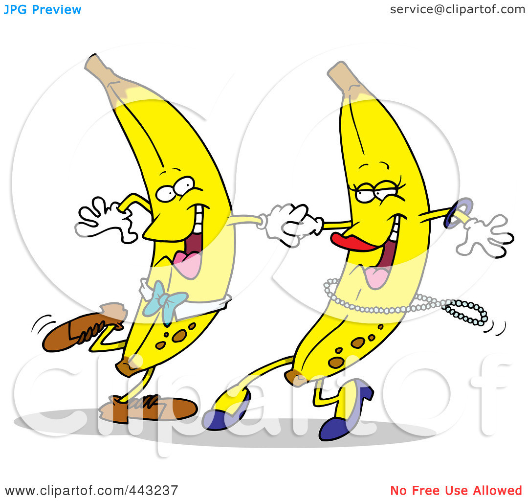 Art Illustration of a Cartoon Banana Couple Dancing by Ron Leishman 1080x1024