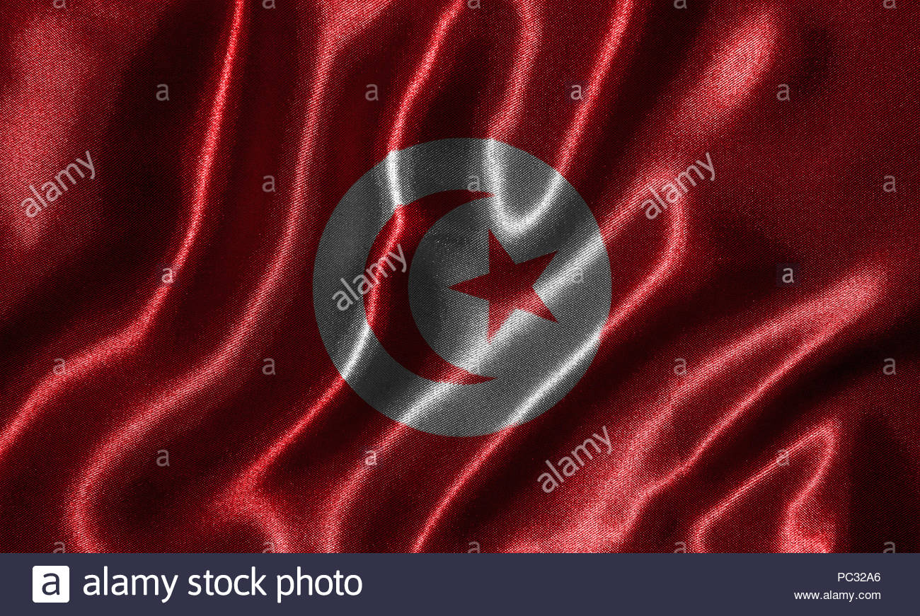 Tunisia flag   Fabric flag of Tunisia country Background and 1300x871