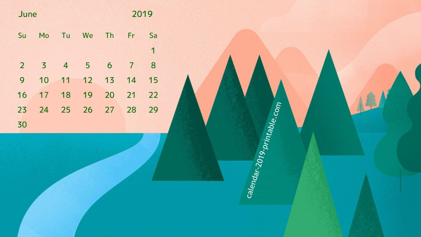 free june 2019 calendar wallpaper Calendar 2019 Wallpapers in 1366x768