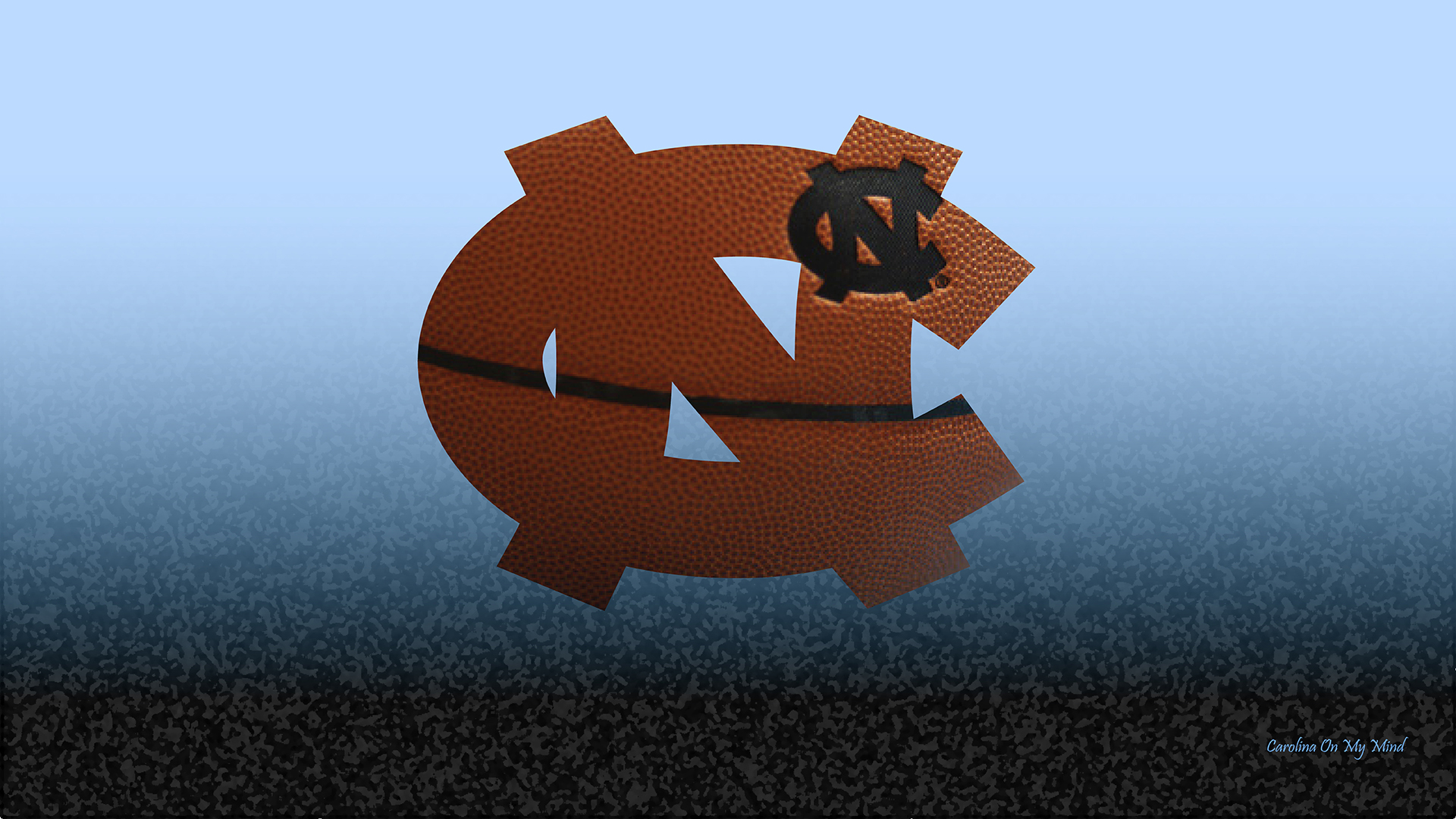 UNC Wallpaper   Basketball Grain NC Logo on Light Blue and Black 1920x1080