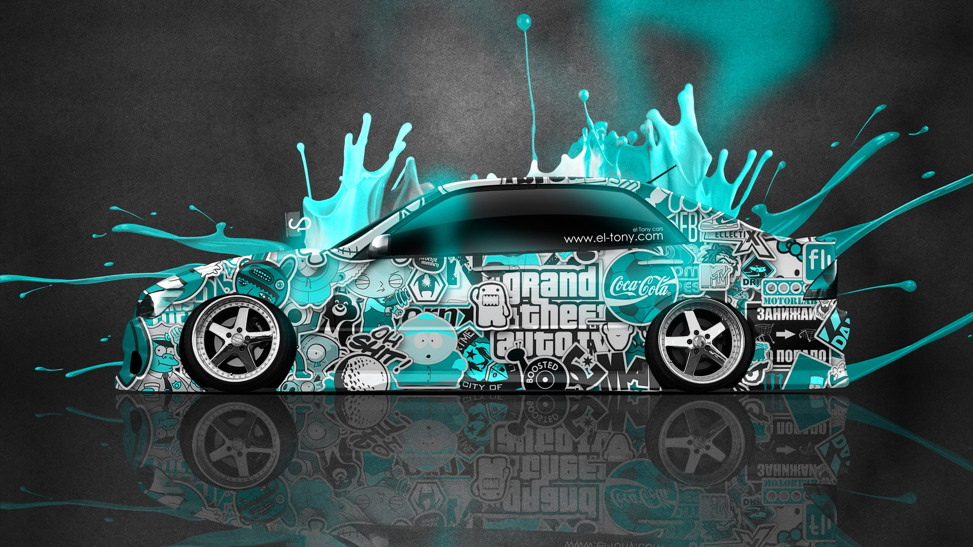 JDM Side Drift Live Colors Car 2014 Art Azure Neon HD Wallpapers 1920x1080