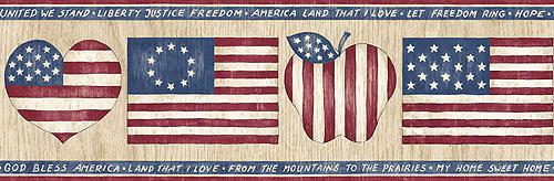 American Flag Wallpaper Border   Country Hearts Decor Wall Border Roll 500x164