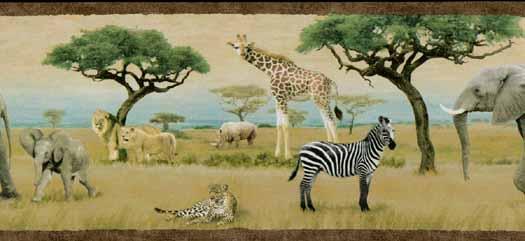 Wild Animal Wallpaper Border Safari animal wallpaper border 525x241