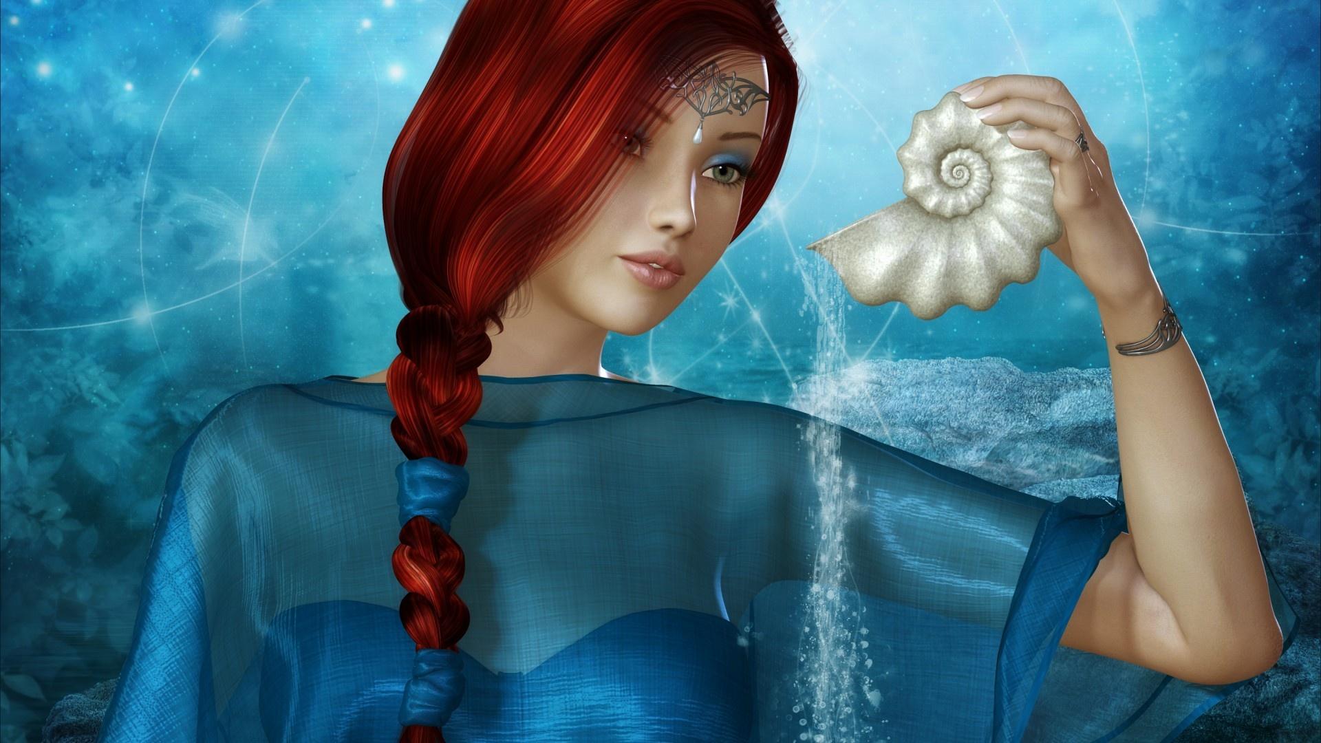 glitter water girl wallpaper shell magic goodwp anime fantasy 1920x1080