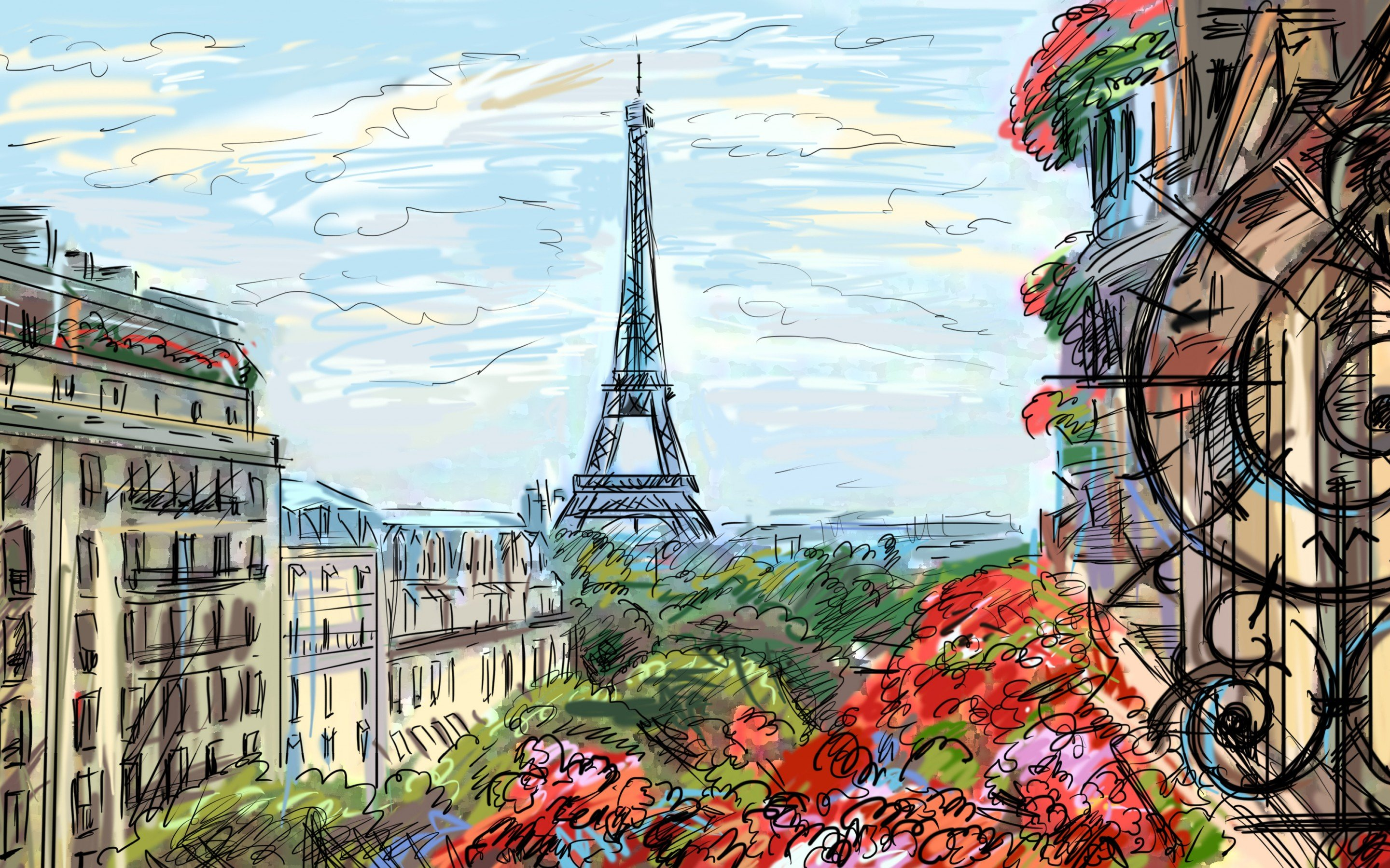 Paris sky clouds houses france french artwork art painting wallpaper 2880x1800