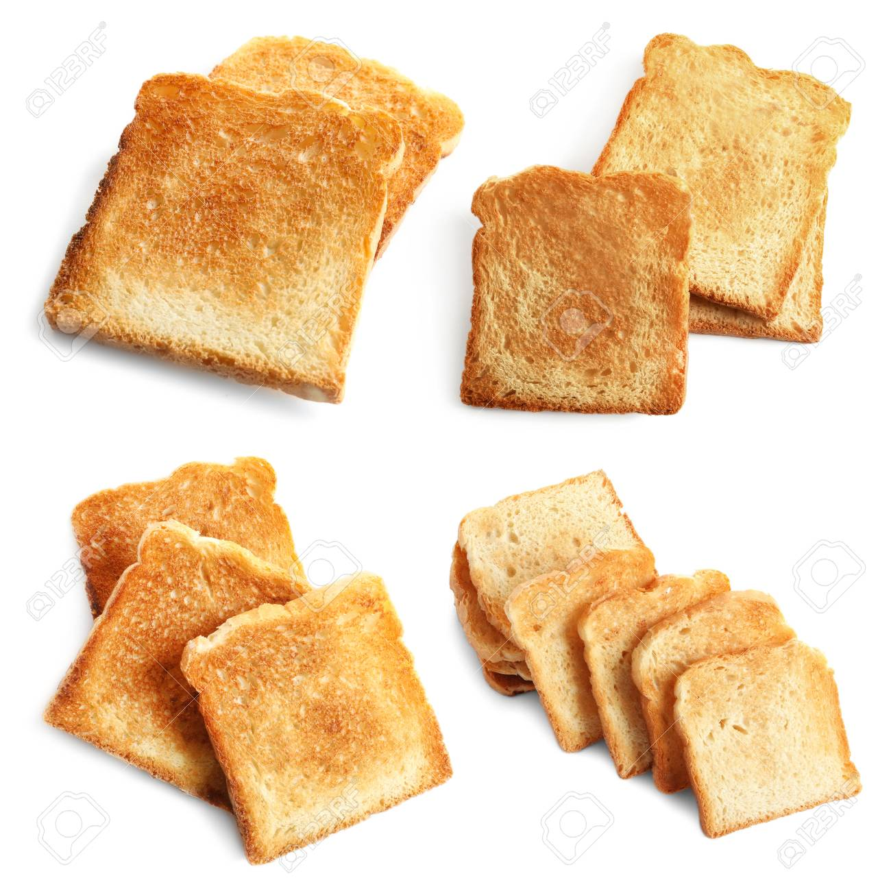 Set Of Toast Bread Slices On White Background Stock Photo Picture 1300x1300
