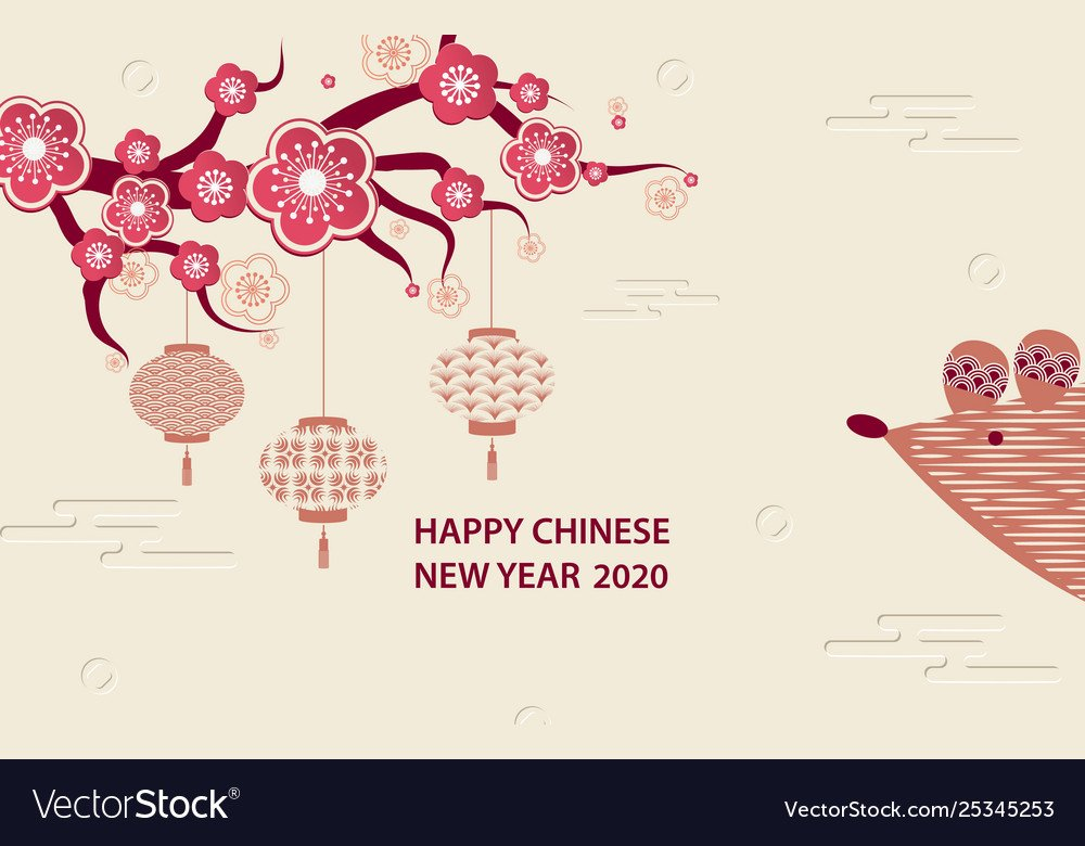 Happy hinese new year 2020 Royalty Vector Image 1000x780