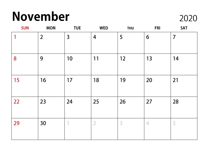 November 2020 Calendar ImageIllustoon 842x596