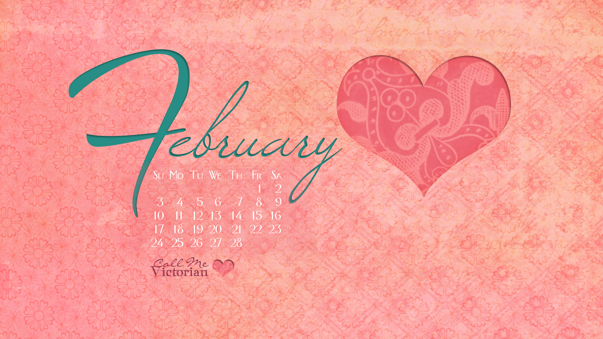 February 2013 Desktop Calendar Wallpaper Call Me Victorian 1920x1080