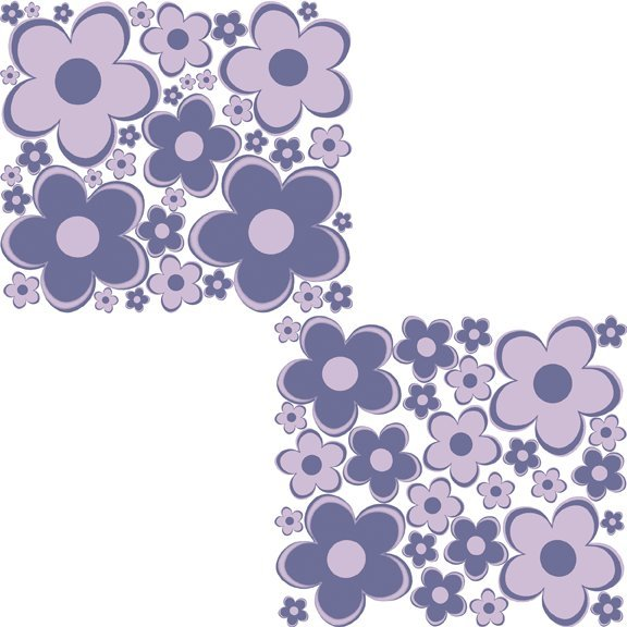 Purple Fun Flowers Peel and Stick Wall Stickers   Wall Sticker Outlet 576x576