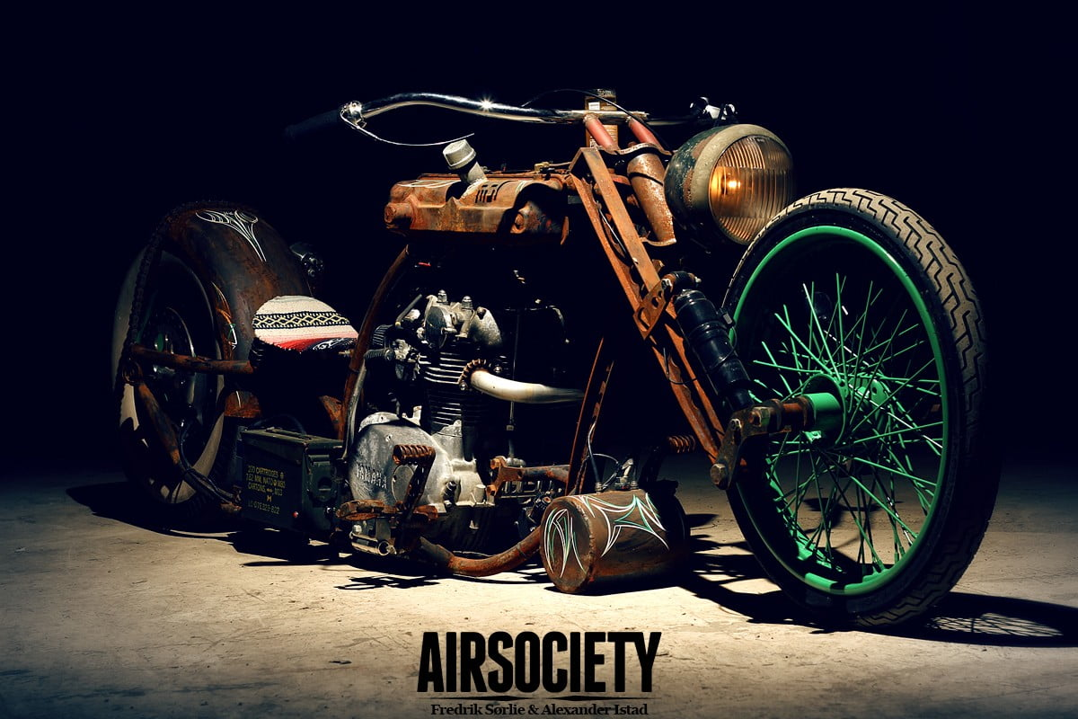 Brown and green Airsociety motorcycle rat style motorcycle old 1200x800